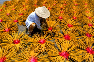 HMS0770472 Vietnam, Mekong Delta, Making of incense sticks, incense sticks drying