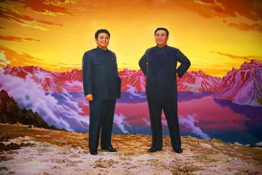 NKO0112 North Korea, Pyongyang. A large wall painting in the Cultural Exhibition Hall depicting Kim Jong Il on the left and Kim Il Sung on the right, with Lake Chon at Mount Paektu as the backdrop, the suppos...