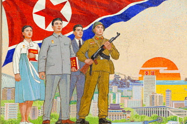 NKO0127 North Korea, Pyongyang. A mural showing progress, success and iconic landmarks on the wall of the People's Palace of Culture, Chollima Street.