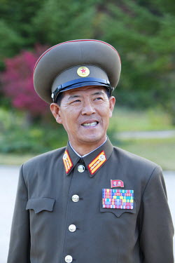 NKO0155 North Korea, Kaesong. A military guard acting as a guide at the Ryongtong temple. Founded by the Chontae Buddhist sect in 1027, Ryongtong temple is believed to have been the first Chontae Temple in Ko...