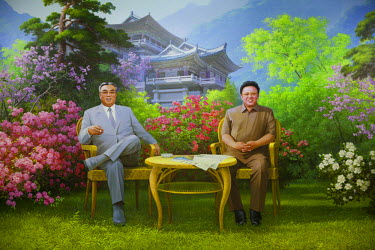 NKO0170 North Korea, Hyangsan. A large wall painting in the lobby of the Chongchon Hotel depicting Kim Il Sung on the left and Kim Jong Il on the right, with the Chongchon Hotel and Mount Myohyang mountains a...
