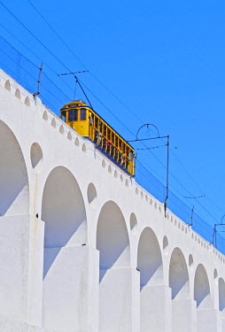 BRA2681AW Brazil, State of Rio de Janeiro, City of Rio de Janeiro, Lapa, Tram on The Carioca Aqueduct.