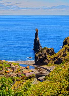 POR8511AW Portugal, Madeira, Ribeira da Janela, View of the northern coast of Madeira Island with Ilheus da Rib and Ilheus da Janela Rocks.