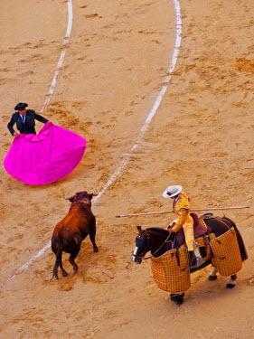 SPA6684AW Spain, Madrid,  Bullfighting Novillada Picada on the Bullring Plaza de Toros de Las Ventas.