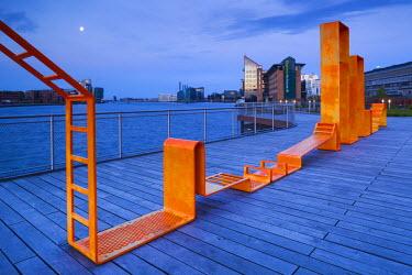 DK01098 Denmark, Zealand, Copenhagen, inner harbor waterfront buildings and playground