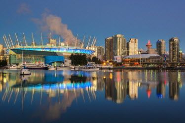 CAN2939AW BC Place stadium and downtown skyline behind at sunrise, Vancouver, British Columbia, Canada