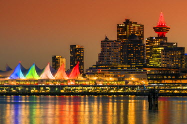 CAN2948AW View at sunset of Canada Place and Harbour Centre building decorated with Christmas lights, Vancouver, British Columbia, Canada