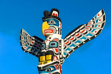CAN2952AW Totem pole at Brockton Point, Stanley Park, Vancouver, British Columbia, Canada