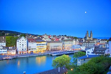 SWI7701 Switzerland, Zurich. The Old Town on the Limmat River.