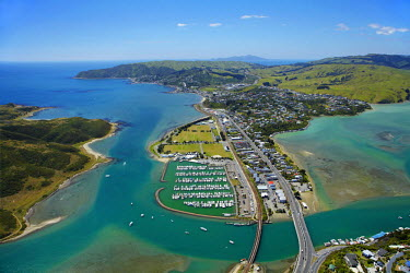 AU02DWA8297 Mana Marina and Porirua Harbour, Wellington Region, North Island, New Zealand, aerial view