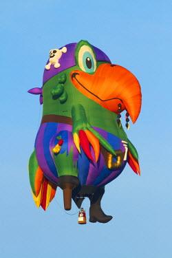 AU02DWA8714 Peg Leg Pete the Pirate Parrot Hot Air Balloon, Balloons over Waikato Festival, Lake Rotoroa, Hamilton, Waikato, North Island, New Zealand