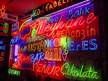 AS37AKA2068 Display wall in a neon shop, Istanbul, Turkey