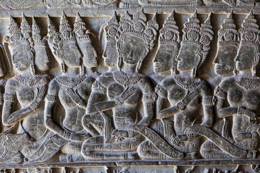 AS40CCE0003 Cambodia, Angkor Wat. Bas-relief Carving, First Corridor, Western Side of Temple.