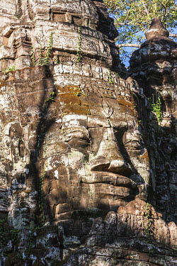 AS40CCE0047 Cambodia. North Gate, Angkor Thom. Some say the face is that of King Jayavarman VII, but this is not universally accepted.