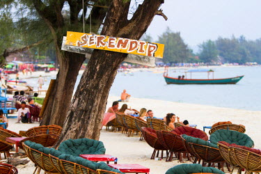 AS40MWR0048 Serendipity beach is the main beach in Sihanoukville, Cambodia. Locals and tourists gather together at beachside bars and enjoy the paradise.