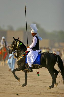 AS28YNI0097 Tent Pegger in action in a competition near Chakwal, Pakistan