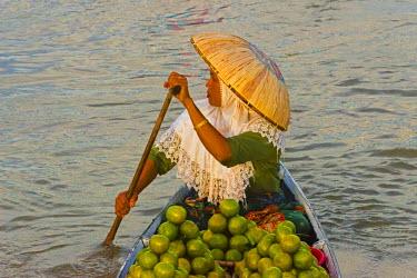 AS11KSU0313 Woman with hat rowing canoe, Lok Baintan Floating market, Banjarmasin, Kalimantan, Indonesia