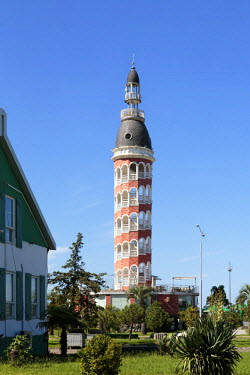 AS08ALA0188 Georgia, Batumi. Interesting architectural tower along the Black Sea coast.