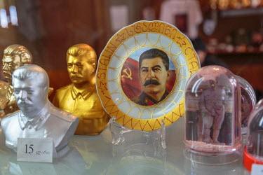 AS08ALA0236 Georgia, Gori. Souvenirs for sale at the Joseph Stalin Museum.