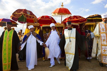 AF16PAD0003 Priests carrying Ark of the Covenant replica's, procession of Timket (celebration of Epiphany, Christian Orthodox Church) Addis Ababa, Ethiopia