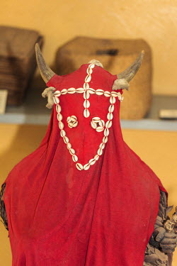 AF18ALA0034 Africa, Gambia, Banjul. Traditional costume used in the Kankurang Masquerade, a rite of passage into adulthood among the Mandinka people.