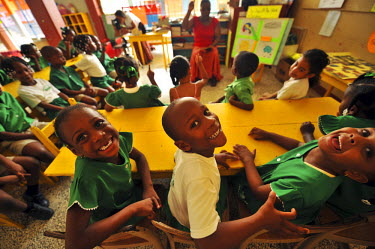 CA13AAS0030 Dominica, Roseau, Preschool Social Center, upper view of schoolchildren in classroom