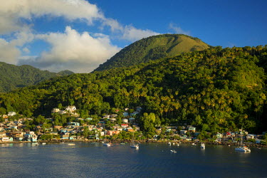 CA33BJN0019 Evening sunlight over the green hills surrounding Soufriere, St. Lucia, West Indies