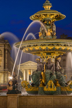 EU09BJN1609 Fontaine des Fleuves, Fountain of Rivers at Place de la Concorde with L'eglise Sainte-Marie-Madeleine beyond, Paris France