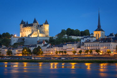 EU09BJN1727 Twilight over Chateau Saumur (b. 12th century) and River Loire, Maine-et-Loire, Centre, France