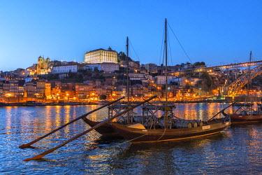 EU23JEN0131 Port wine boats on Douro River, Oporto, Portugal