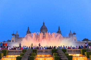 EU27LEN0104 Europe, Spain, Barcelona, National Palace and The Magic Fountain