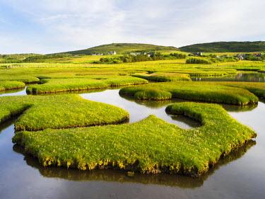 EU30MZW0045 Isle of Harris, The coastal salt marsh near Northton during sunset. Scotland in July