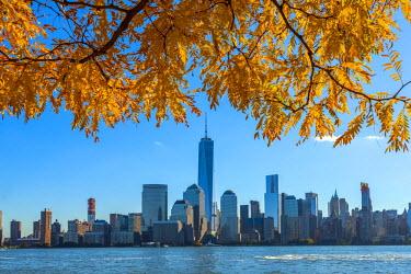 US61308 USA, New York, Manhattan, Lower Manhattan and World Trade Center, Freedom Tower, viewed from New Jersey, Jersey City, Paulus Hook