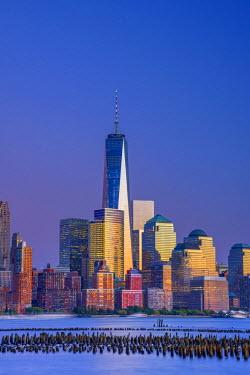 US61348 USA, New York, Manhattan, Lower Manhattan and World Trade Center, Freedom Tower across Hudson River