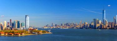 US61378 USA, New Jersey, Jersey City, Paulus Hook and New York, Manhattan Skyline