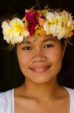 OC01POX0360 Woman traditional dress for ceremony, Kioa Island, Fiji.