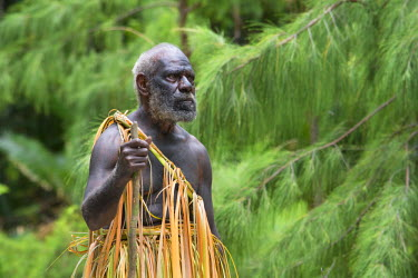 OC07CMI0013 Republic of Vanuatu, Torres Islands, Loh Island. Village elder with walking stick dressed in traditional palm leaf attire worn for 'The Chiefs Dance'.