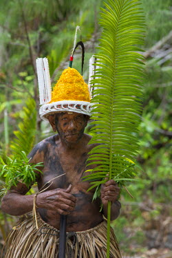 OC07CMI0015 Republic of Vanuatu, Torres Islands, Loh Island. Village elder dressed in traditional headdress and palm attire for performing 'The Chiefs Dance'.