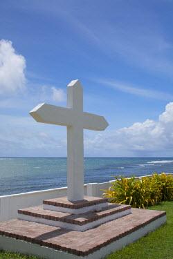 OC09CMI0091 Micronesia, Mariana Islands, US Territory of Guam, Umatac. Historic Spanish San Dionisio Church, est. 1681, National Register of Historic Places.