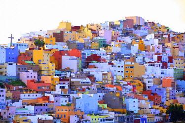 ES09251 Colourful Buildings in the San Juan District, Las Palmas de Gran Canaria, Gran Canaria, Canary Islands, Spain, Atlantic Ocean, Europe
