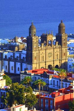 ES09256 Elevated view of Santa Ana Cathedral, Vegueta Old Town, Las Palmas de Gran Canaria, Gran Canaria, Canary Islands, Spain, Atlantic Ocean, Europe
