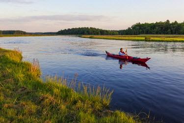 US22JMO0681 A man kayaking on the North River in Marshfield, Massachusetts. Near Emilson Farm. (MR) USA