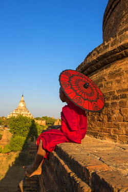 MYA2018AW Bagan, Mandalay region, Myanmar (Burma). A young monk with red umbrella watching the Shwesandaw pagoda in a distance.