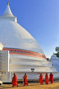HMS1609399 Sri Lanka, Western Province, Colombo District, Kelaniya, Kelaniya Raja Maha Vihara's Buddhist temple, Stupa, monument commemorating Buddha's death, monks' procession in single file tourant around the...