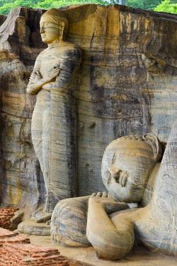 HMS1609560 Sri Lanka, North-Central Province, Polonnaruwa District, Polonnaruwa, Historic city listed as World Heritage by UNESCO, huge buddha cut in rock of Gal Vihara