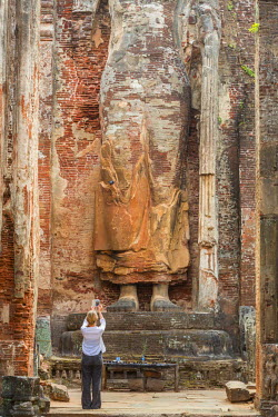 HMS1983589 Sri Lanka, North Central province, Polonnaruwa, the former capital of the country (11th to 13th century) is listed as a listed as World Heritage by UNESCO Buddha carved into the rock