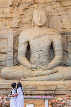 HMS1983597 Sri Lanka, North Central province, Polonnaruwa, the former capital of the country (11th to 13th century) listed as World Heritage by UNESCO, Vihariya Gal (Gal Vihara), meditating Buddha carved out of...