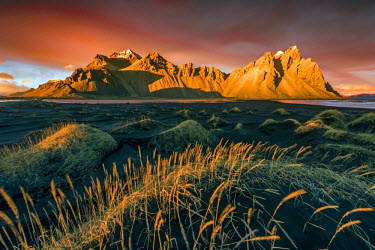 CLKFV36709 Landscape at sunset, Stokksnes, Eastern Iceland, Europe