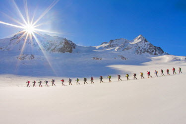 CLKGM21867 Ski mountaineers in the hochniochferner glacier, Austria, Europe.