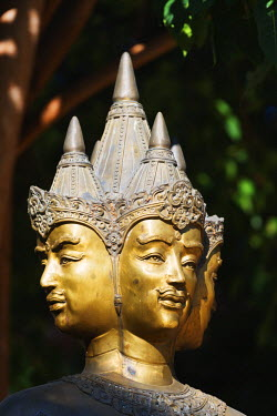 South East Asia, Thailand, Chiang Mai, Wat Lok Molee, four headed statue